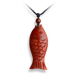 年年有鱼精雕紫檀挂饰